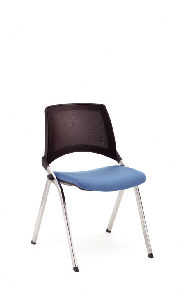 Pledge La Kendo Meeting Chair With Four Leg Base & Upholstered Seat With Mesh Back